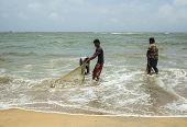 Fishermen Cleaning Nets