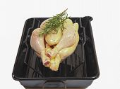 Free Range Chicken In A Black Oven Tray