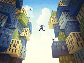 business people jump over abstract building
