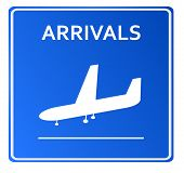 Blue Airport Icon, Arrivals..Vector illustration