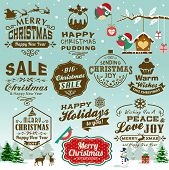 Collection of Christmas design elements with vintage labels, icons and typography design