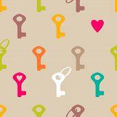 Keys and heart seamless pattern