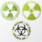 foto of bio-hazard  - Grunge bio hazard and radioactive stamp design - JPG