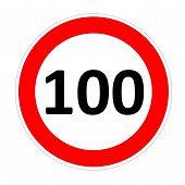 100 speed limit sign