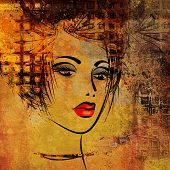 art colorful sketching beautiful girl face on golden background