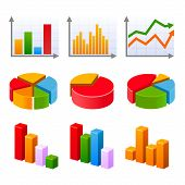 Infographic set with colorful charts and diagram