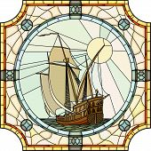 image of sailing vessel  - Vector mosaic with large cells of sailing ships of the 17th century in round stained - JPG