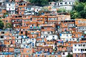 stock photo of shacks  - Favela crowded Brazilian slum in Rio de Janeiro - JPG