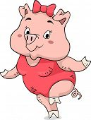 foto of one piece swimsuit  - Illustration of a Cute Pig Wearing a One Piece Swimsuit - JPG