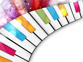 image of music symbol  - Colorful musical concept with piano - JPG