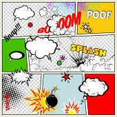 Grunge Retro Comic Speech Bubbles. Vector Illustration on Strip Background. Abstract Talking Clouds and Sounds. poster