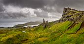 Panoramic View Of Old Man Of Storr Mountains,