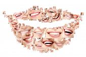 Smile collage of perfect smiling faces closeup. Conceptual set of beautiful wide human smiles with g
