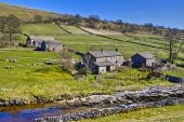 stock photo of farm-house  - Scenic view of stone farm buildings in countryside with stream in foreground Yockenthwaite Wharfdale Valley Yorkshire England - JPG