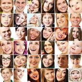 Collage of smiling faces. Collection of beautiful human faces with wide smiles and great healthy white teeth. Isolated over white background