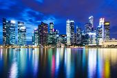 image of singapore night  - Singapore skyline at night - JPG