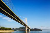 image of hong kong bridge  - Ting Kau and Tsing Ma suspension bridge in Hong Kong - JPG