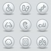 Medicine  web icons set 2, circle white matt buttons