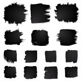 Vector set of grunge squared watercolor brush strokes.  Black collection of black vector oil paint b