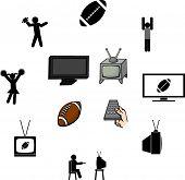 watching the football season illustrations and symbols set