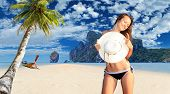 stock photo of koh phi-phi  - Young woman relaxing on the beach at exotic resort on Phi Phi island - JPG