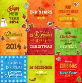image of candy cane border  - Christmas cards vintage set of retro Xmas banners design - JPG