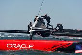 SAN FRANCISCO, CA - SEPTEMBER 12: The crew of Oracle Team USA changes sails in the America's Cup sai