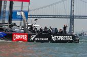 SAN FRANCISCO, CA - SEPTEMBER 12: The crew of Emirates Team New Zealand waves to the crowd after win