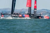SAN FRANCISCO, CA - SEPTEMBER 12: Emirates Team New Zealand and Oracle Team USA compete in the Ameri