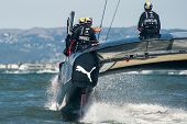 SAN FRANCISCO, CA - SEPTEMBER 12: James Spithall and Ben Ainslie aboard Oracle Team USA during in th