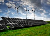foto of wind-power  - solar energy panels and wind turbines - JPG
