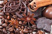 Anise, cinnamon, chocolate and coffee beans
