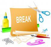 Break. Paper template. Raster illustration.