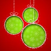 Abstract Xmas greeting card with green Christmas balls cutted from red paper background. Vector eps1