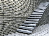 Concept or conceptual white stone or concrete stair or steps near a brick wall background with tile,