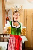 Young woman as queen in Traditional Bavarian Tracht in restaurant or pub with steins and beer