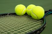 Tennis Balls on a Racket with room for copy