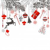 Christmas background in grey, red, white and black colors. Christmas tree branches and ornaments han