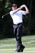 Sep 15, 2013; Lake Forest, IL, USA; Sergio Garcia watches his fairway shot on the third hole during