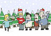 Carol singing christmas illustration.