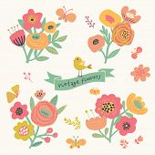Bright floral elements in vector. Cute vintage set with birds and butterflies. Stylish flowers for m