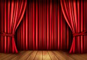 stock photo of curtain  - Background with red velvet curtain and a wooden floor - JPG