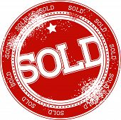 sold grunge stamp vector