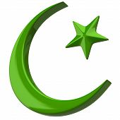 stock photo of artemis  - Green Crescent Islamic symbol on white background - JPG