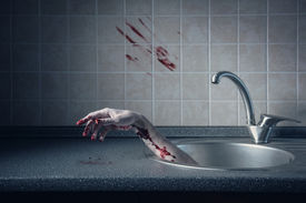 pic of pale skin  - Bloody hand in kitchen sink - JPG