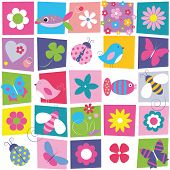 stock photo of butterfly fish  - birds bees ladybugs butterflies fish hearts and flowers illustration on colorful rectangular and white background - JPG
