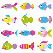 colorful cartoon funky fish pattern