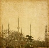 The Sultan Ahmed Mosque (Blue Mosque) is a historic mosque in Istanbul. Added paper texture.