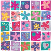 flowers and hearts pattern