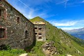 Old abandoned military fortress in Colle delle Finestre mountain pass in Piedmont, Northern Italy.